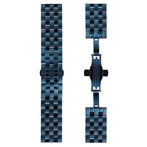 DETOMASO Uhrenarmband Milanaise Edelstahl-Armband 20mm 22mm 24mm mit Schnellwechsel Federsteg (20mm, Edelstahl - Blau)