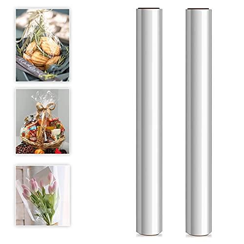Touchbool Klares Cellophan Transparent Geschenkpapier Rolle 2.5 Mil Lebensmittelpapier Folienrolle zum Einwickeln von Geschenkkörben Blumenfolie Geschenkfolie Kunst 40CM x 30M