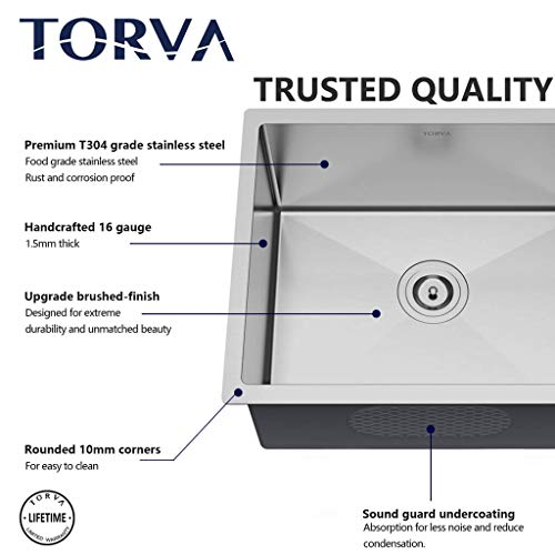 Bar Sink, TORVA 15 x 17 Inch Undermount Kitchen Sink, 16 Gauge Stainless Steel Wet Bar or Prep Sinks Single Bowl, Fits 18