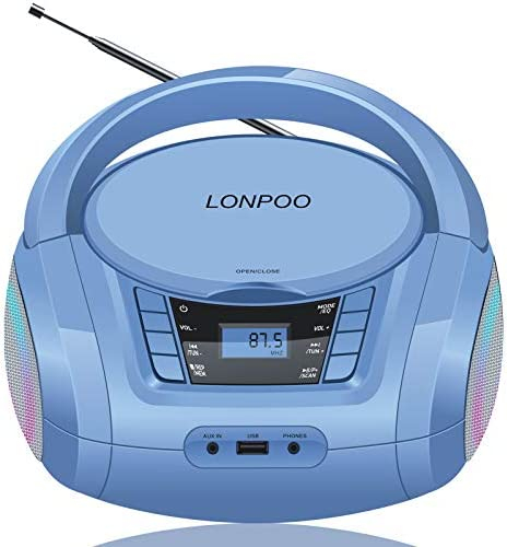 LONPOO Kids CD Player Boombox Portable with Bluetooth FM Radio USB Playback AUX Input and Stereo product image