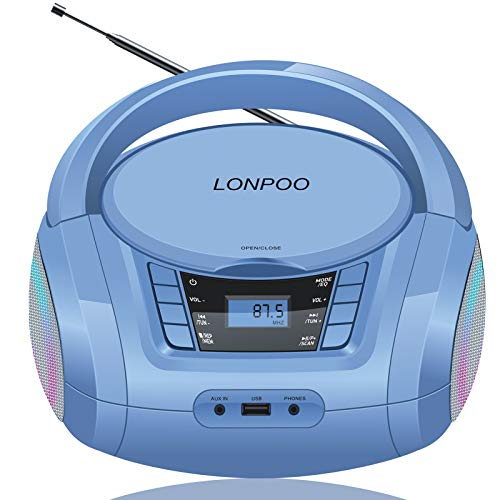 LONPOO Kids CD Player Portable Boombox with LED Light, Support Bluetooth Connection/FM Radio/USB Input/AUX-in/Earphone Stereo Output, AC/DC Operate (Molandi Blue)