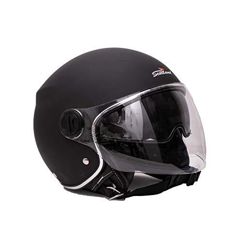 Scotland Motorcycle Dept 120013 LUX casco moto scooter con visierino parasole e inserti in pelle; nero M