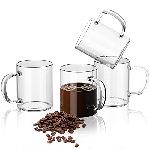 Clear Glass Coffee Mugs Set,(Set of 4), 14 Ounces-High Borosilicate Glass Cups With Handle, Large Capacity Cups For Milk, Tea,Juice, Latte, Espresso, Cappuccinos,Beer Mug Water Cups