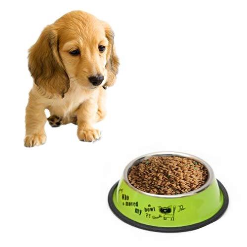 Tuzi Qiuge Pet Supplies, Edelstahl Tragbare Fressnapf Anti-Rutsch-und haltbarer Hund Katze Wasser-Schüssel mit Cartoon-Muster, Spezifikation: 19,5 * 25,5 * 6.6cm (Color : Green)