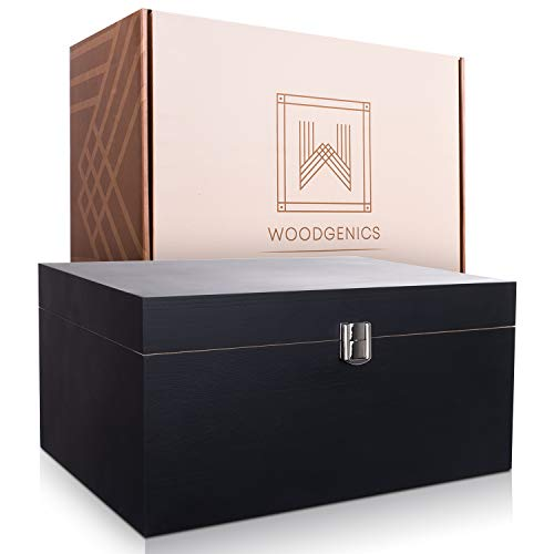 Wooden Gift Boxes - Large Memory Box For Keepsakes, Decorative Boxes With Lids, Wooden Box With Hinged Lid, Stash Box, Black Box, Wood Boxes, Storage Box With Lid, Wooden Storage Box Wood Box With Lid