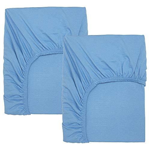 Sábana bajera ajustable para cuna azul claro, 2 en paquete, tamaño montado: 140 cm de largo x 70 cm de ancho, paquete de 2 unidades
