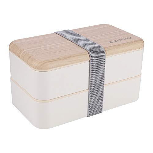 miuse Bento Box, Lunchbox Kinder, Brotdose Kinder Doppelte Brotdose Brotdose Holzig, Spülmaschinengeeignet, Mikrowellengeeignet, BPA Schadstofffrei(White)