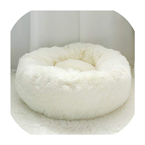 Gentle Illusion Warm Fleece Dog Bed Round Pet Cushion for Small Medium Large Dogs Cat Long Plush Winter Dog Kennel Puppy Mat Bed Lounger Sofa,White,Diameter 50Cm