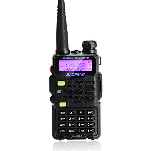 BAOFENG UV-5R5 5-Watt Dual Band Two-Way Radio (144-148MHz VHF & 420-450MHz UHF) Includes Full Kit with Large Battery (Black)