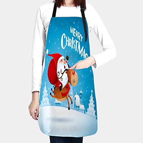 kThrones Unisex Chefs Kitchen Apron Waterproof with Pockets,merry christmas santa claus riding reindeer,Bib Aprons for Cooking Restaurant Work BBQ Gardening Craft Painting Baking