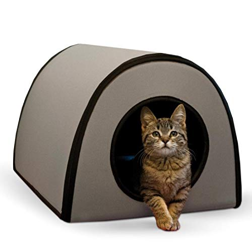 K&H Pet Products Mod Thermo-Kitty Heated Shelter Gray 21' x 14' x 13' 25W Great for Outdoor Cats