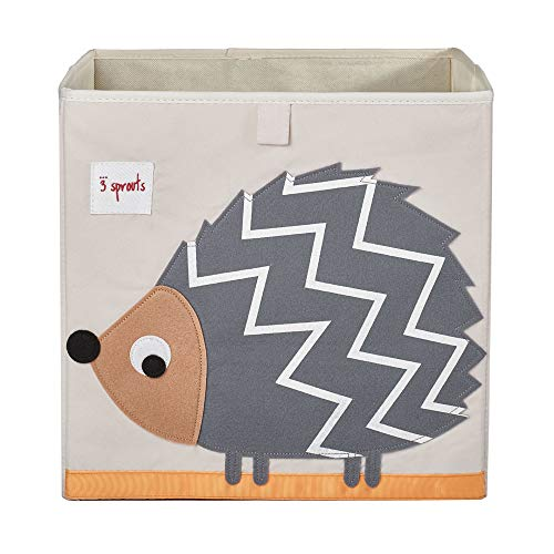 3 Sprouts Large 13 Inch Square Children's Foldable Fabric Storage Cube Organizer Box Soft Toy Bins, Pet Hedgehog and Dotted Sheep (2 Pack)