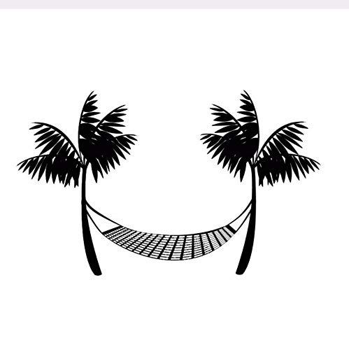 Pmhhc Wandtattoo Vinyl Durable zwart gedrukt strand hangmat muursticker palmen Home Decor