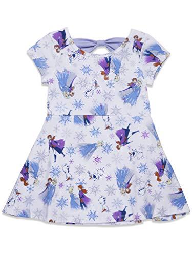 Disney Frozen Toddler Girls Short-Sleeve All-Over Print Summer Dress 4T White/Purple