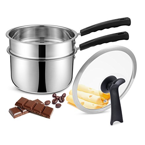 Double Boilers&Classic Stainless Steel Non-Stick Saucepan,Steam Melting Pot for Candle,Butter,Chocolate,Cheese,Caramel and Bonus with Tempered Glass Lid