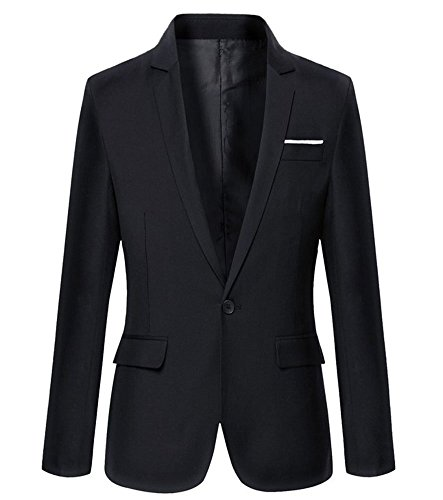 Mens Slim Fit Casual One Button Blazer Jacket (L, 302Black)