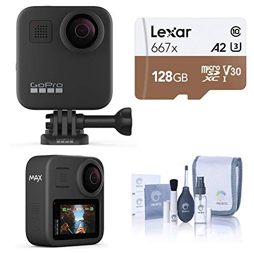 GoPro MAX Waterproof 360 Camera + Hero Style Video with Touch Screen, Spherical 5.6K30 UHD Video 16.6MP 360 Photos Bundle with 128GB microSD Card, Cleaning Kit