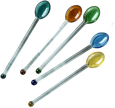 Kyien 5 Pieces Heat Resistant Glass Spoons Stirring Spoons for Salt Sugar Tea Coffee Cocktail product image