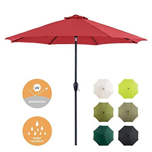Tempera Patio Umbrella 9 Ft Outdoor Garden Table Umbrella with Push Button Tilt and Crank 8 Ribs, Red