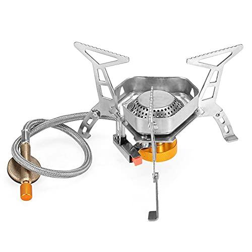 BAWAQAF estufa, estufa de gas portátil de acero inoxidable que acampa, estufa de gas a prueba de viento plegable al aire libre, quemador de gas, con caja