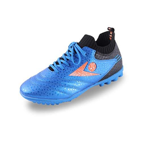 LCHENX-Zapatos de Fútbol Unisex Zapatos de Fútbol Profesionales para Adolescentes Zapatillas de Deporte de Césped para Interiores y Exteriores para Niños Niñas,Azul,43 EU