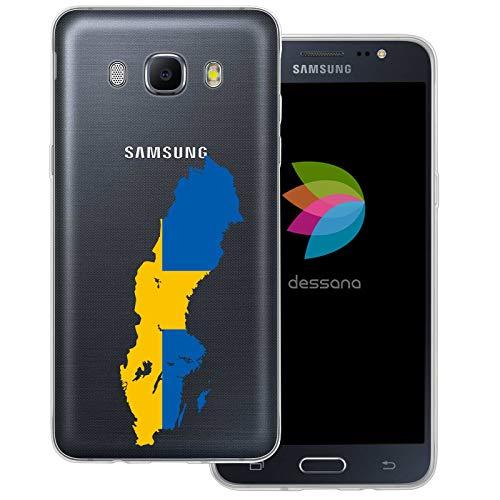 dessana Sverige transparent skyddsfodral mobiltelefon fodral fodral väska för Samsung Galaxy A J, Samsung Galaxy J5 (2016), Sverige karta