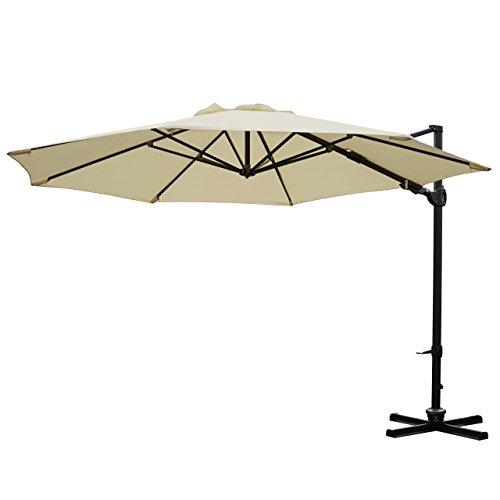 Mendler Gastronomie-Ampelschirm HWC-A39, Sonnenschirm, schwenkbar drehbar Ø 3,5m Polyester/Alu 34kg ~ Creme ohne Ständer