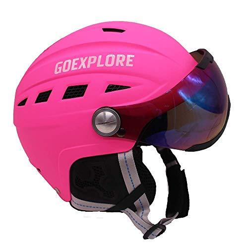 Skihelm, Ski Snowboard Sneeuw Sport Verstelbare Helm Vizier met Afneembare Photochromic Polariserende Goggles Pink-L(58-60)