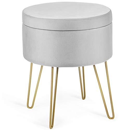 Giantex Samthocker mit Stauraum, runder Schminkhocker Sitzhocker mit Metallbeinen, Abnehmbarer Deckel, moderner Fußhocker Aufbewahrungsbox, Polsterhocker für Schlafzimmer Wohnzimmer (grau)