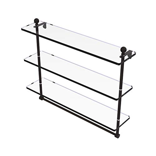 Allied Brass MA-5/22TB Mambo Collection 22 Inch Triple Tiered Integrated Towel Bar Glass Shelf, Oil Rubbed Bronze