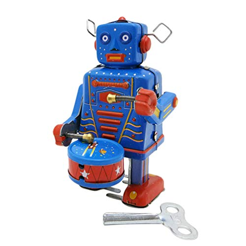 VOSAREA Clockwork Drumming Robot Wind up Cartoon Antique Tinplate Vintage Toy Adornment for Adults Kids Children