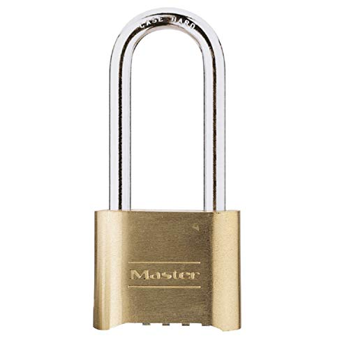 Master Lock 175EURDLH Certified Combination Padlock with Solid Zinc Body with Brass Finish with Long Shackle, Gold, 10,7 x 5,1 x 2,4 cm