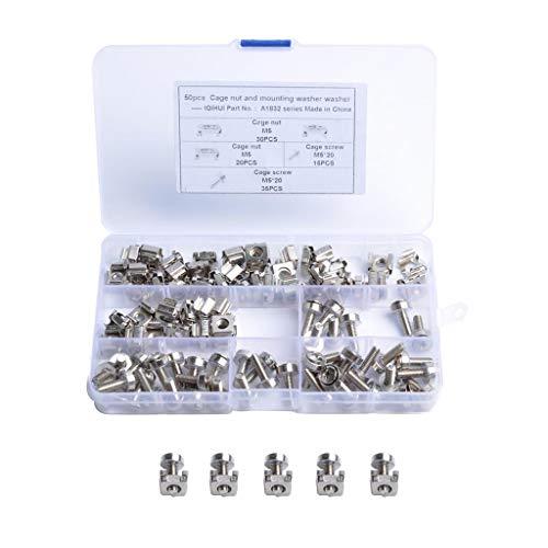 prasku Paquete de 100 Clips para Caja de Riel M5x20, Tuercas Enjauladas, Arandelas, Pernos Y Arandelas para Rack