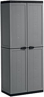 Kis Armoire Range-Balais Jolly Gris-Noir, Plastique, 68 x 39 x 166 cm