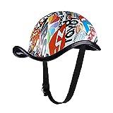 KKmoon Casco per Moto, Casco Mezzo Moto con Cinghia di Rilascio Uomini Donne per Ciclismo Motociclismo Bici (XL, Stile 1), 59-59 cm