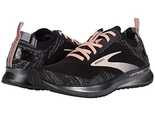 Brooks Womens Levitate 4 Running Shoe - Black/Grey/Coral Cloud - B - 7.5
