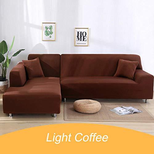 Bankhoezen Zitsbankbeschermer,Effen hoes voor hoekbank, 1 2 3 4-zitsbankhoes voor huisdieren-3-Light_coffee_3-seater_195-230cm