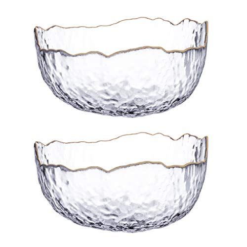 Mixing Bowls Set/Mixing Bowl 2-piece Nordic Hammer Textured Glass Mixing Bowl with Golden Edging Home and Kitchen Serving Fruit Decoration Dish Glassware for Salad Ice Cream Dessert Food Great reward