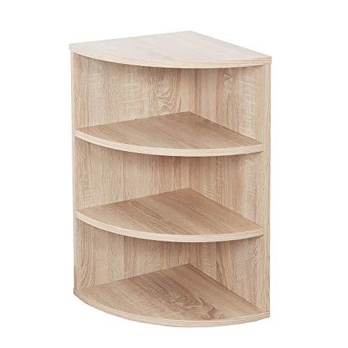 RICOO WM053-ES Estantería Esquina 60 x 33 x 33 cm Estante esquinera Librería Moderna Muebles de hogar Mueble almacenaje Madera Color Roble marrón