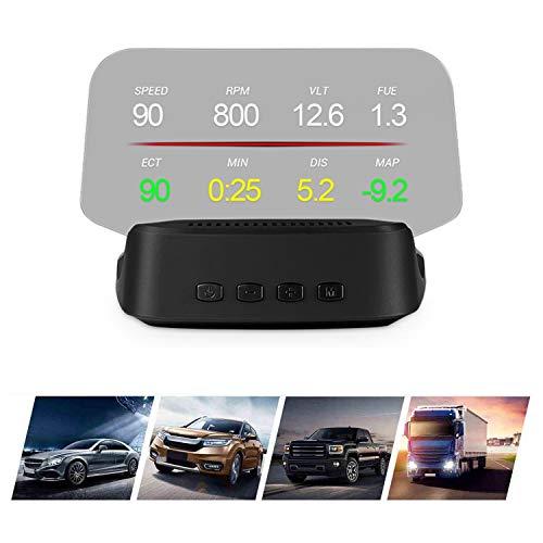 Head up Display Auto OBD II/GPS-Doppelschnittstelle, Auto HUD Anzeigegeschwindigkeit KM/MPH, Wassertemperatur, Spannung, Motordrehzahl, Sicherheitsalarme usw. für alle Fahrzeuge kompatibel