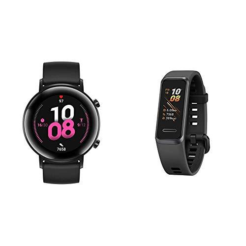 HUAWEI Watch GT 2 Sport (42 mm), [Exklusiv +5EUR Amazon Gutschein], Night Black + Band 4 wasserdichter Bluetooth Fitness- Aktivitätstracker mit Herzfrequenzmesser, Sport Band und Touchscreen