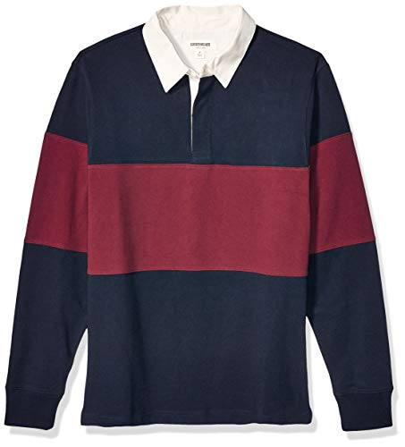 Amazon Brand - Goodthreads Men's Long-Sleeve Striped Rugby, Navy Burgundy Colorblock, Medium Tall
