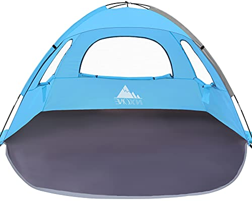 NXONE Beach Tent Sun Shade Shelter for 2-3 Person with UV Protection, Extended Floor, 3 Mesh Roll Up Windows & 8.0mm Fiberglass Rods丨Carry Bag, Stakes, Guy Lines Included (Ocean Blue)