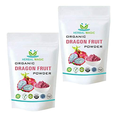 Organic Pink Pitaya Powder - Dragon Fruit Powder- Food Safety Approved and Certified - Whole Plant Used - 100g - Natural Slow Dried (Pink Pitaya Powder, 200gm)