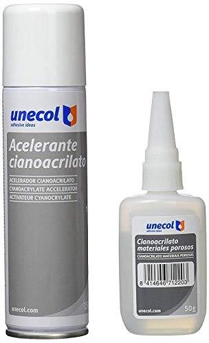 Unecol 7156 Kit accelerante Aerosol + cianoacrilato para materiales porosos (botella), 200 ml + 50 ml