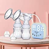 KAKALEER Electric Double Breast Pump,Auto Night Light,Pain Free,Strong Suction,Quiet,BPA Free,Rechargeable