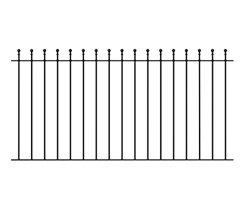 Manor Ball Top Fencing Panel 1830mm (6ft) GAP x 914mm H wrought iron metal fence railing MA01