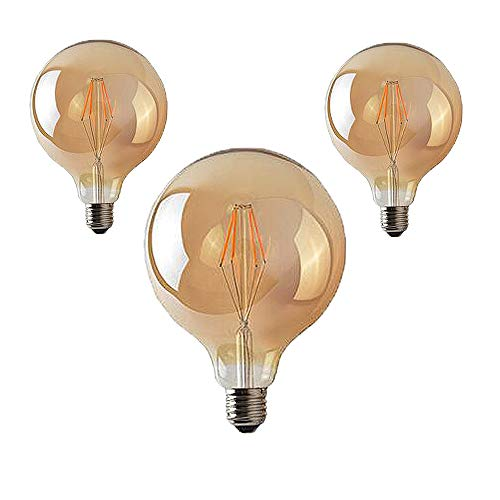 NUOXIN 3-serie E27 4W Globus Vintage Edison Gloeilamp Groot LED-lamp (φ125 mm) X met E27 fitting Flexibel Filament NO-dimbaar Warm Wit (2700 Kelvin) 400 Lumen Vervangt 40Watt Barnsteen