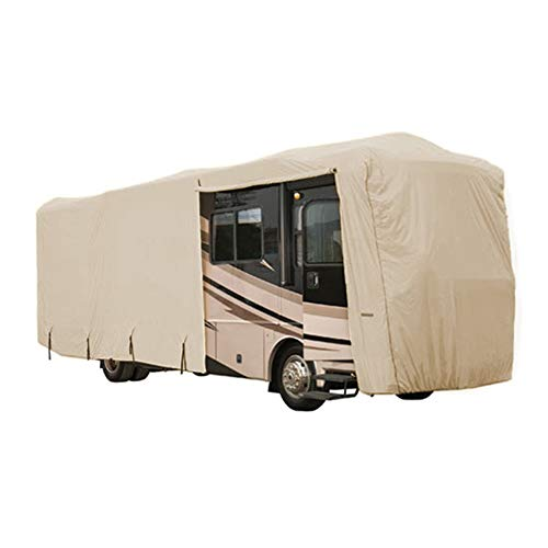 Goldline Eevelle Heavy Duty Class A RV Cover - Waterproof, UV Protection, Durable, Breathable RV Cover with Roof Straps - Tan - Gray