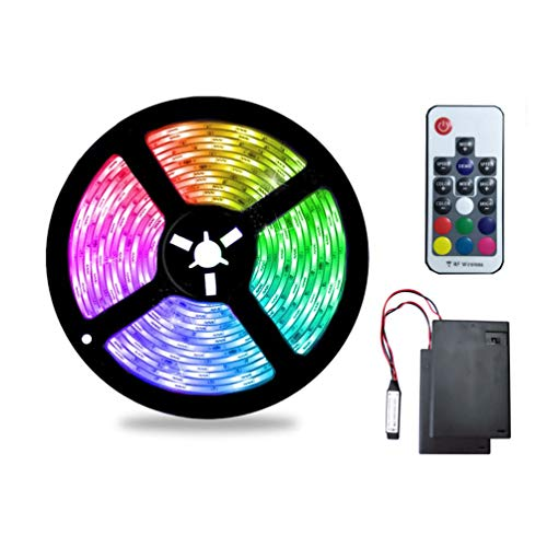 Battery Powered LED Strip Lights,5M/16.4ft Rainbow Effect RGB Led Lights Strip with 2 Battery Power Supply Box and 17 Keys RF Remote Controller